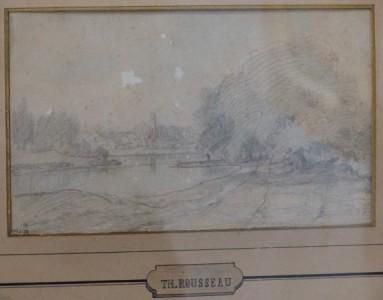 Théodore ROUSSEAU: Dessin à la mine de plomb,  provenance vente de l'atelier de l'artiste après son décès. Vente à Paris en 1868  avec cachet de la vente T.H.R.   Dimensions: 11 x18 cm. Prix demandé: 1 500 euros.